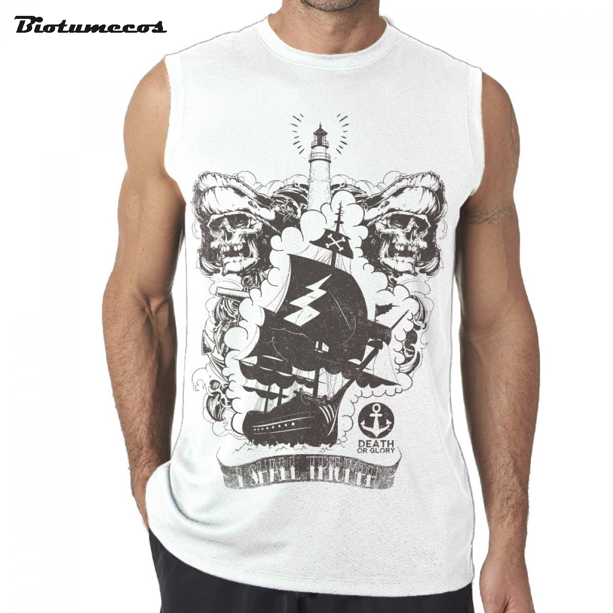 Männer ärmellose t shirt mode 100 baumwolle marke tank tops unterhemden schädel piratenschiff leuchtturm