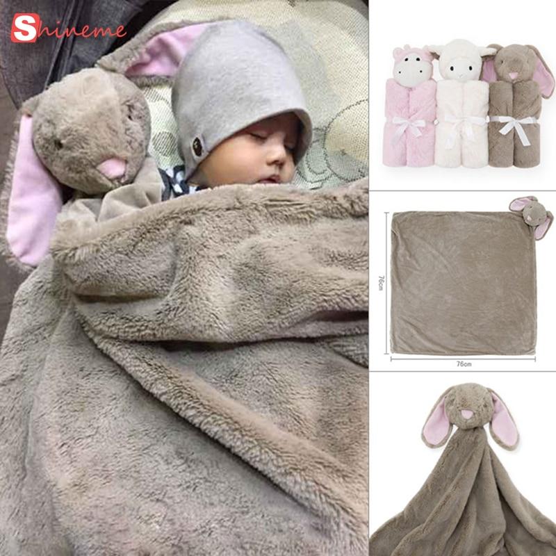 все цены на High quality swaddle Winter baby blanket birthday gift for newborn soft warm coral fleece plush animal toy head kids Sleeping