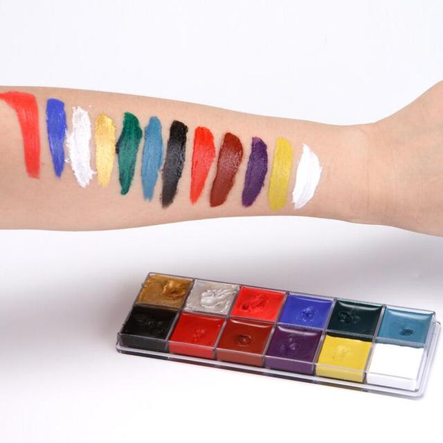 12 Colors Face Body Art Painting Body Paint Oil Painting Tattoo Makeup Cosmetic Bodypainting Halloween Party 1