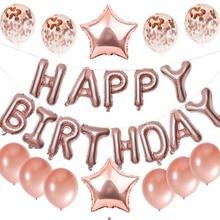 """13 шт. День рождения украшения из розового золота воздушный шар """"Конфетти"""" 16 дюймов с днем рождения письмо воздушный шар детские товары для праздника воздушные шары"""