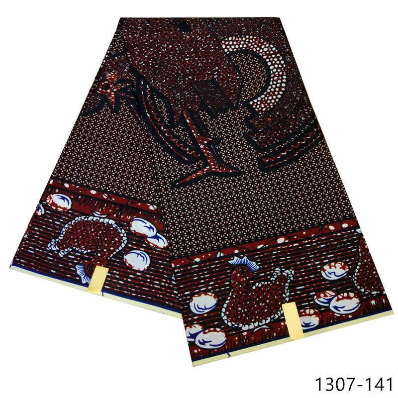 Tecido de impressão de cera africano de alta qualidade clássico dashiki cera 6 metros 100% poliéster africano java cera imprime tecidos para vestidos 1307