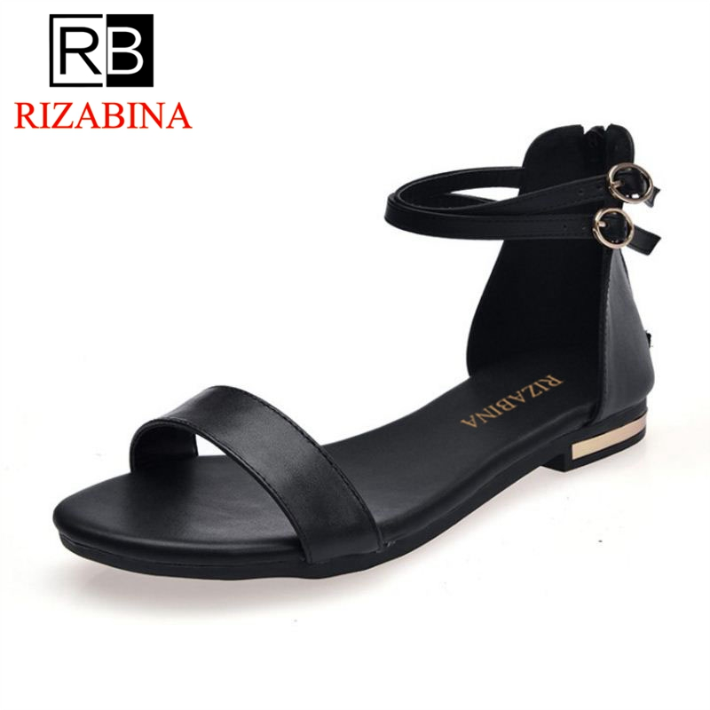 RizaBina Women Flats Sandals Real Leather Open Toe Zipper Ladies Summer Shoes Simple Women Sandals Holidays Footwear Size 33-42