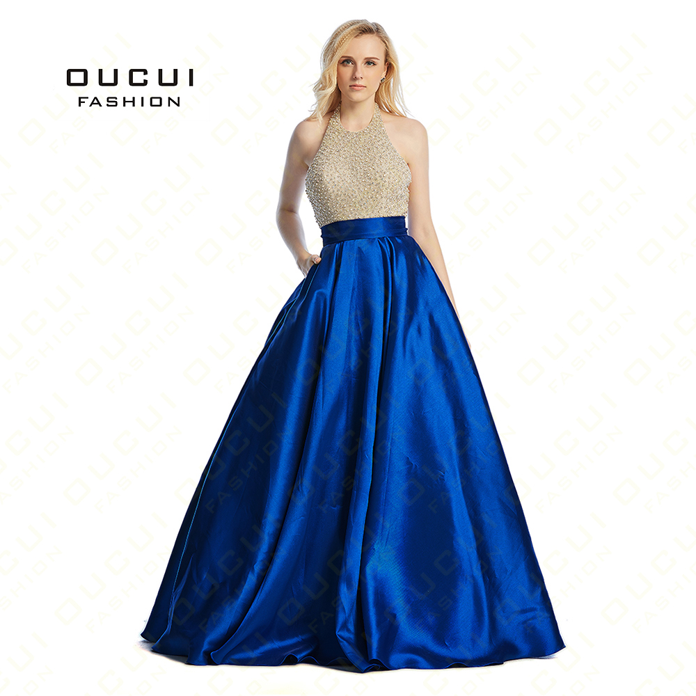 Robe Paillette Crystal Long Sexy   Prom     Dress   Evening Gowns Royal Blue Formal   Dresses   Wear Party OL102881