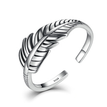 VOROCO 2017 Hot Sale Authentic 925 Sterling Silver Feather  Vintage Band Cuff Adjustable Open Ring for Women Fine Jewelry VSR045 цена и фото