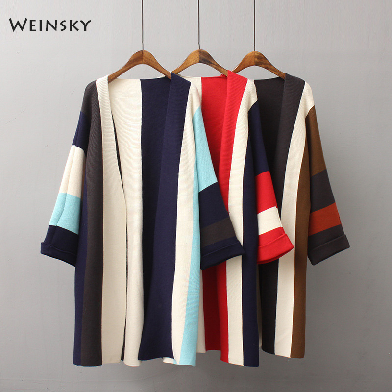 Weinsky Ladies Sweaters Cardigans Women Knitted Casual-Style Korean Long And Full Open-Stitch