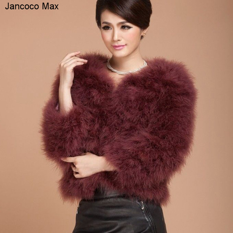 Jancoco Max 2019 Real Ostrich Feather Coat Women High Quality AA Lady Genuine Turkey Fur Coat S1003