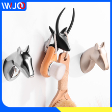 Robe Hooks Black Clothes Coat Hook Wall Hanger Decorative Deer Head Bathroom Hook for Towels Key Bag Hat Rack Bathroom Hardware robe hook black clothes coat hook wall hanger decorative deer head bathroom hook for towels key bag hat rack bathroom hardware