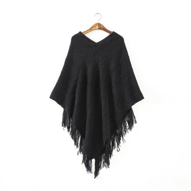 ETOSELL Herbst Winter Frauen Flügel-kap-poncho Strickoberteil Damen Pullover Pullover Mantel Vintage Solide Outwear