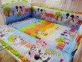 Promoción! 6 unids cama personalizada, sábanas de algodón para el bebé, 100% historieta del algodón del bebé ropa de cama cuna ( bumpers + hojas + almohada cubre )