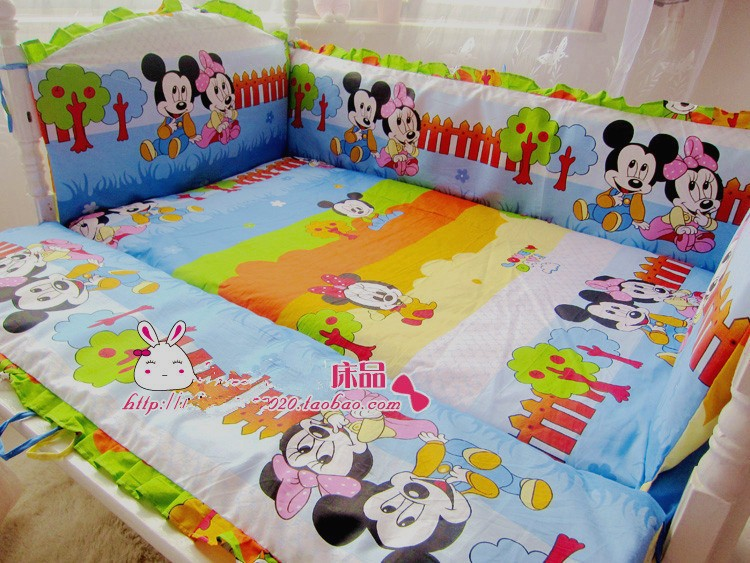 ФОТО Promotion! 6PCS custom bedding,cotton bed sheets for baby, 100% cotton cartoon baby crib bedding (bumpers+sheet+pillow cover)