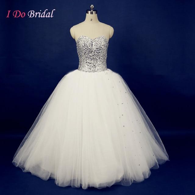 Luxury Glitter Country Wedding Dresses Crystal Rhinestone Puffy Tulle Ball Gown Bridal Dress Turkey Floor Length