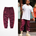 New Jogger red long Pants Kanye West Hiphop Men Sweatpants Season 4 Trouser Fashion Brand Fitness wine red Casual Pants