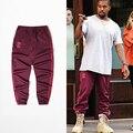 Nuevos Pantalones Kanye West Hiphop Hombres Pantalones de Chándal Basculador largo rojo Temporada 4 Pantalones de La Marca de Moda de Fitness Pantalones Ocasionales de vino tinto