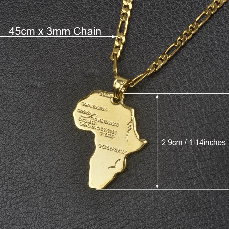 Anniyo кулон Карта Африки ожерелье для женщин мужчин серебро/золото Цвет эфиопские ювелирные изделия карты Африки хип-хоп Пункт#132106 - Окраска металла: 45cm by 3mm Chain