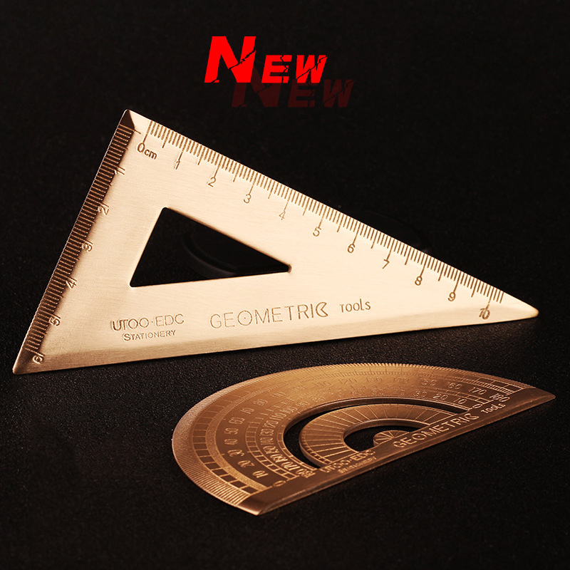 Vintage Brass Triangular Ruler Retro Protractor Drawing Ruler Travelers Notebook Planner Accessories Office And School Supplies