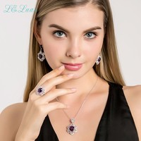 L Zuan 925 Sterling Silver Jewelry Rings Natural Amethyst Prong Setting Purple Romantic Ring For Women