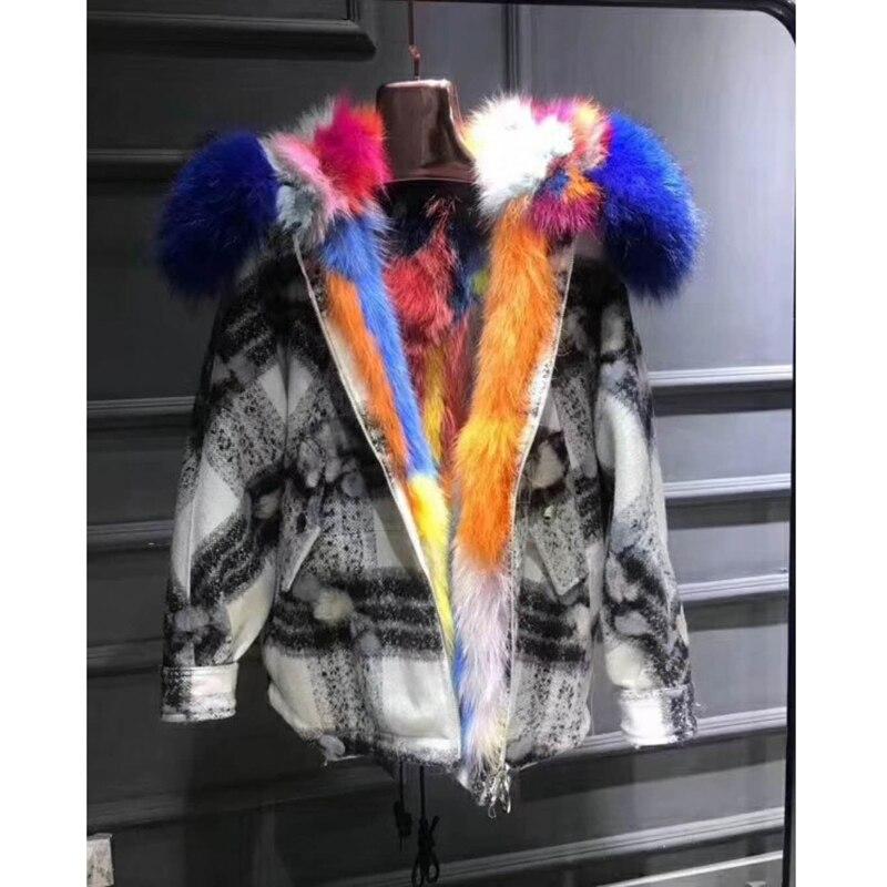 Femmes Wt079 Patchwork Hiver Marque Renard Veste La De Chaud Fourrure Blue 2018 Épais Extérieure Nouvelle Réel Manteau Moutons ZqwRSxTOCn