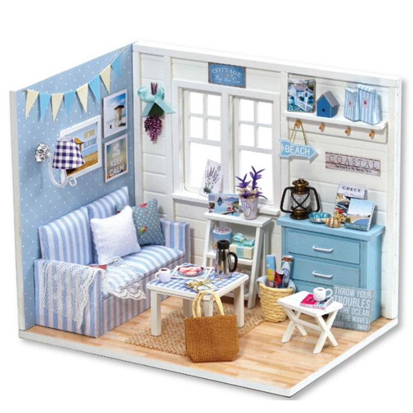 Miniatura Wooden Dollhouse Furniture Diy Doll House Miniature Puzzles Toy Model Kits Toys Birthday Gifts