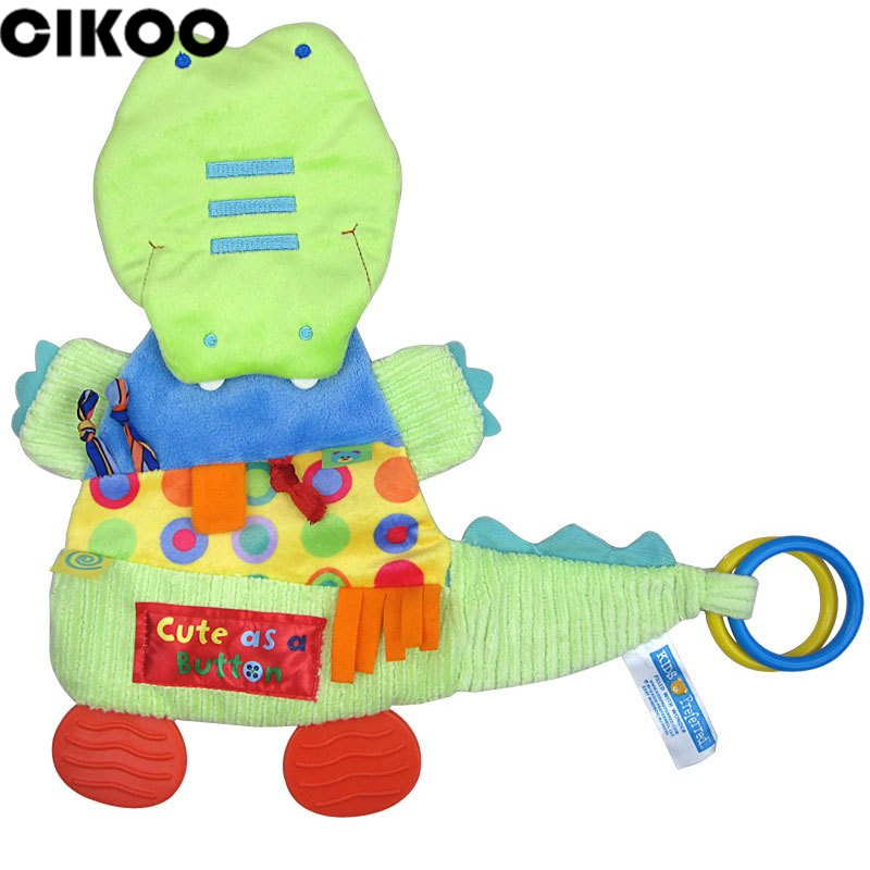 32cm 32cm Baby Cartoon Toys Crocodile Teether Scarf Handkerchief Appease Towel Rattles Doll Gift For Soothe