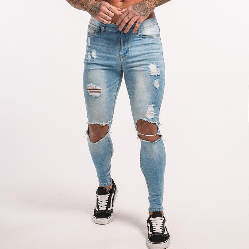 Gingtto Maigre Jeans Pour Homme Pulvérisation Sur Souper Skinny Jeans  détruit Denim Jeans Avec La Chaîne