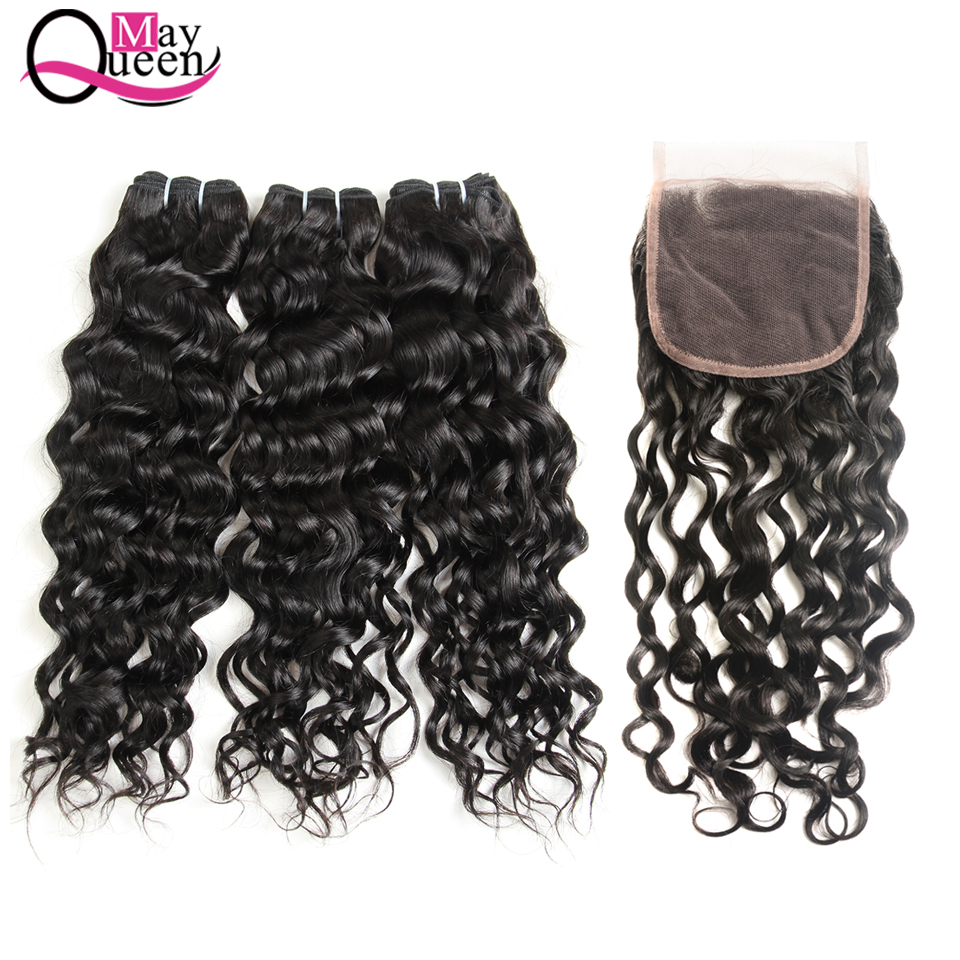 May Queen Hair Brazilian Bundles With Closure Water Wave 4*4 Lace Closure Free Part 100% Human Hair Extension Non Remy