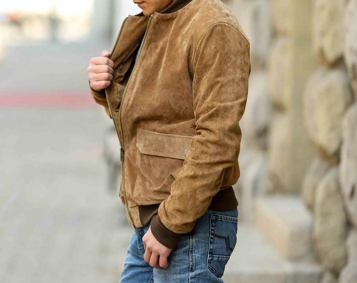 Livraison gratuite, qualité homme Suède De Porc en cuir veste. mode vintage peau de porc mince vêtements. hommes de vestes. ventes
