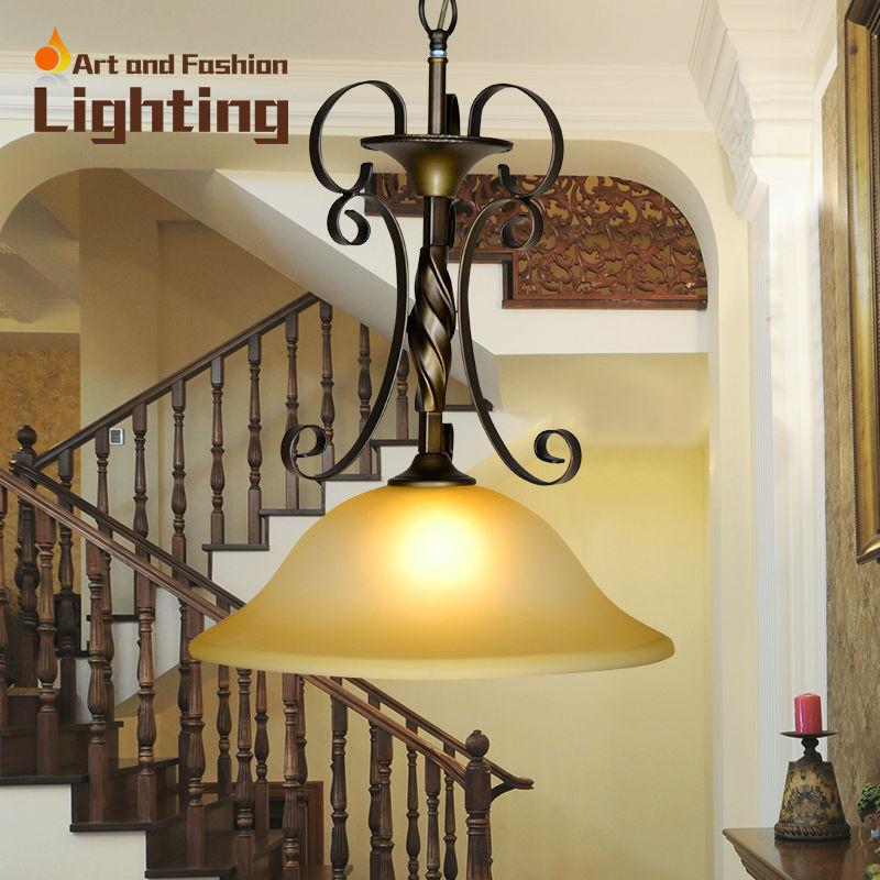 comprar europeo luces colgantes de hierro clsica escalera luces altura ajustable color de bronce saln comedor ilumina led e de la