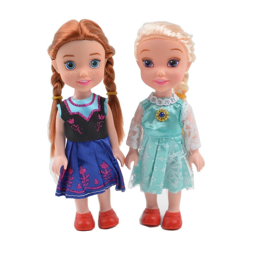 BOHS 2 pz Snow Queen Giovane Bambino Elsa e Anna Sorelle Principessa Nell'infanzia Bambole Figura Giocattoli Bonecas Figure Toy, 16 cm