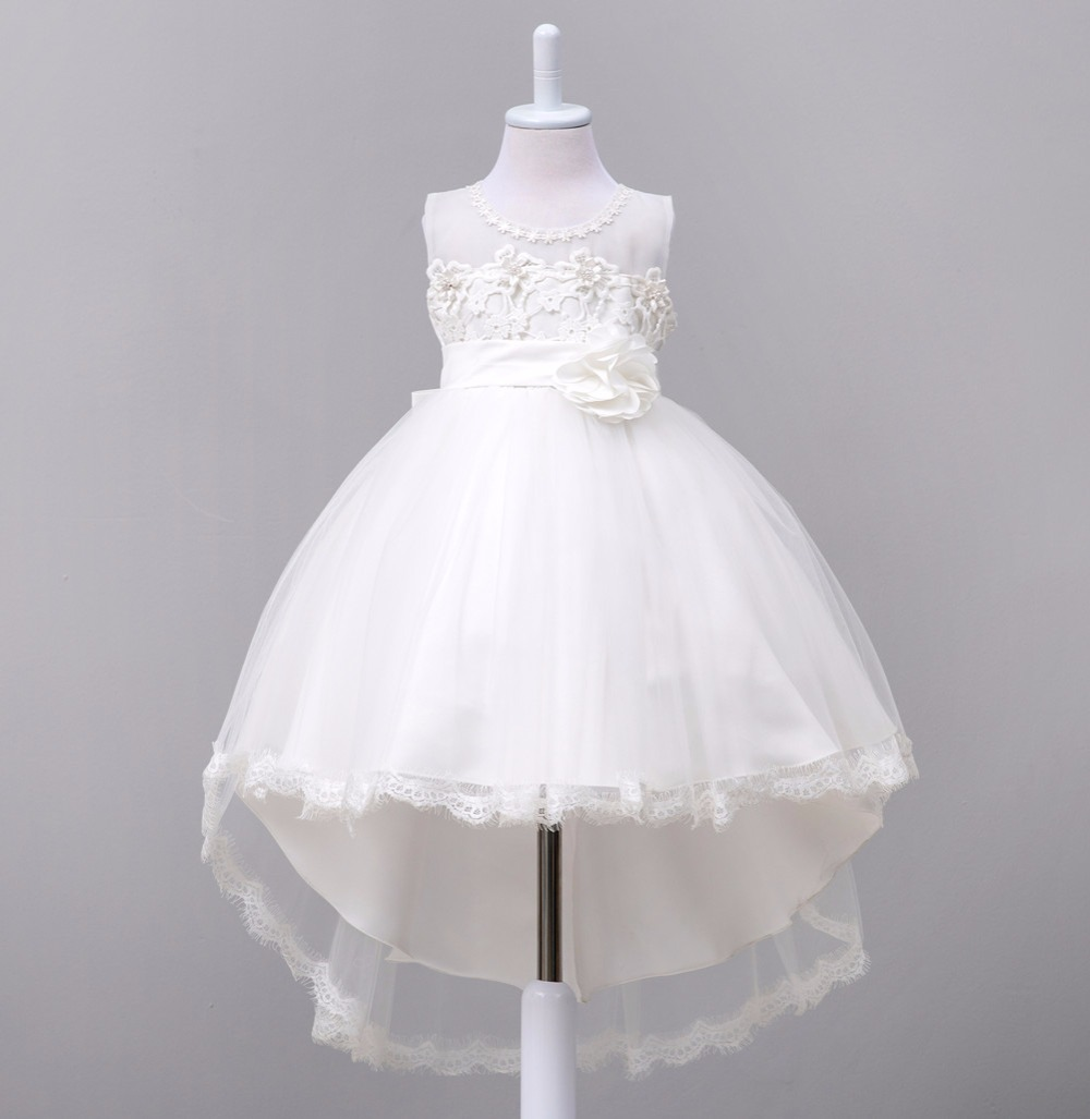 kids tail dress children girl bow white wedding flower girls vestido infantil party dress for girl small host princess dress цены онлайн