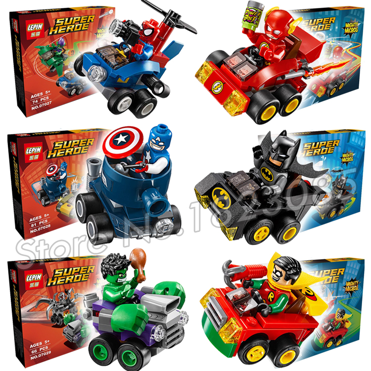 6pcs/lot Super Heroes Mighty Micros Captain America vs. Red S Model Building Blocks Bricks Playset Toys Compatible With lego