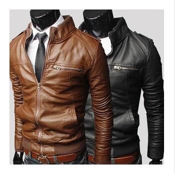 Male Jacket Stand-Collar Brown Plus-Size Mens Coats Autumn Black 3XL PU New-Fashion