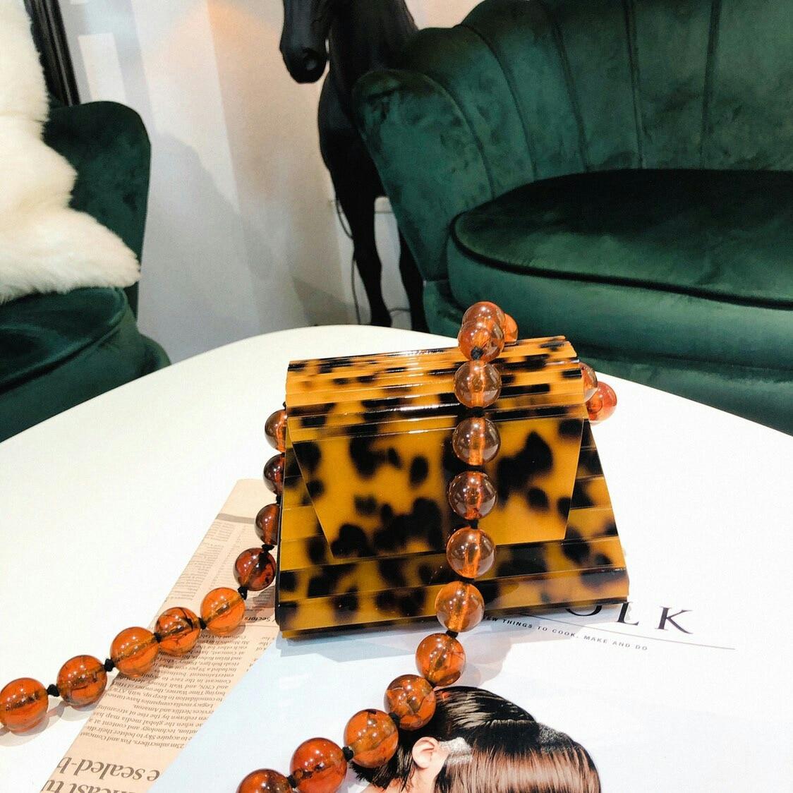 Sacs de chaîne perlée acrylique ambre de luxe pour femmes Mini perle petit sac à rabat sacs à bandoulière sac à main de soirée embrayage dames sacs à main