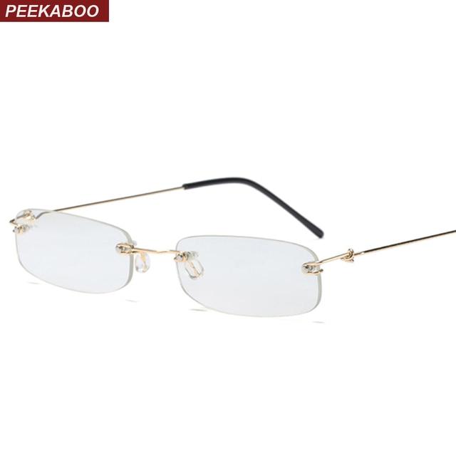 a8aaf82533c52 Peekaboo clear lens gold rimless eyeglasses men 2018 super light narrow  tiny glasses frame for men women rectangle