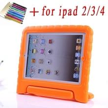 Para ipad 2/3/4 original espuma eva case a prueba de golpes para ipad 2 funda coque niños soporte de la manija protectora cubierta