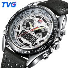 2017 TVG Brand Men Sports Watches Digital LED Quartz Watch Men Waterproof Outdoor Leather Military Wrist Watch Relojes Hombre