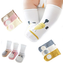 3 pairs of baby socks autumn and winter high tube printing socks 1-3 years old newborn combed cotton cute cartoon pattern(China)