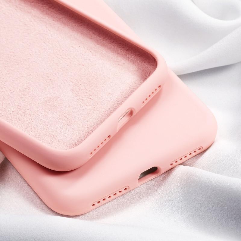 Galleria fotografica Original Soft Summer Liquid Silicone Case For iPhone 11 2019 XS Max XR X XS Solid color Cover For iPhone 7 8 6 Plus 6S Plus Case