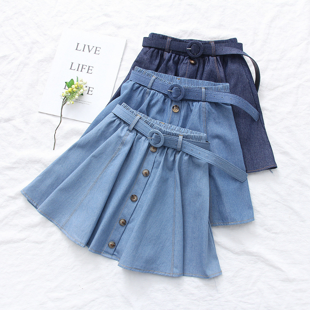 Belt Deco Elastic Waist Denim Skirt Women Solid Color Big Hem Single Breasted Denim Skirt Casual Daily Short Jean Skirt Female