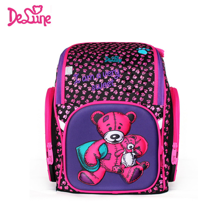 Delune 2018 New European Children School Bag Girls Boys Backpack Cartoon Mochila Infantil Large Capacity Orthopedic