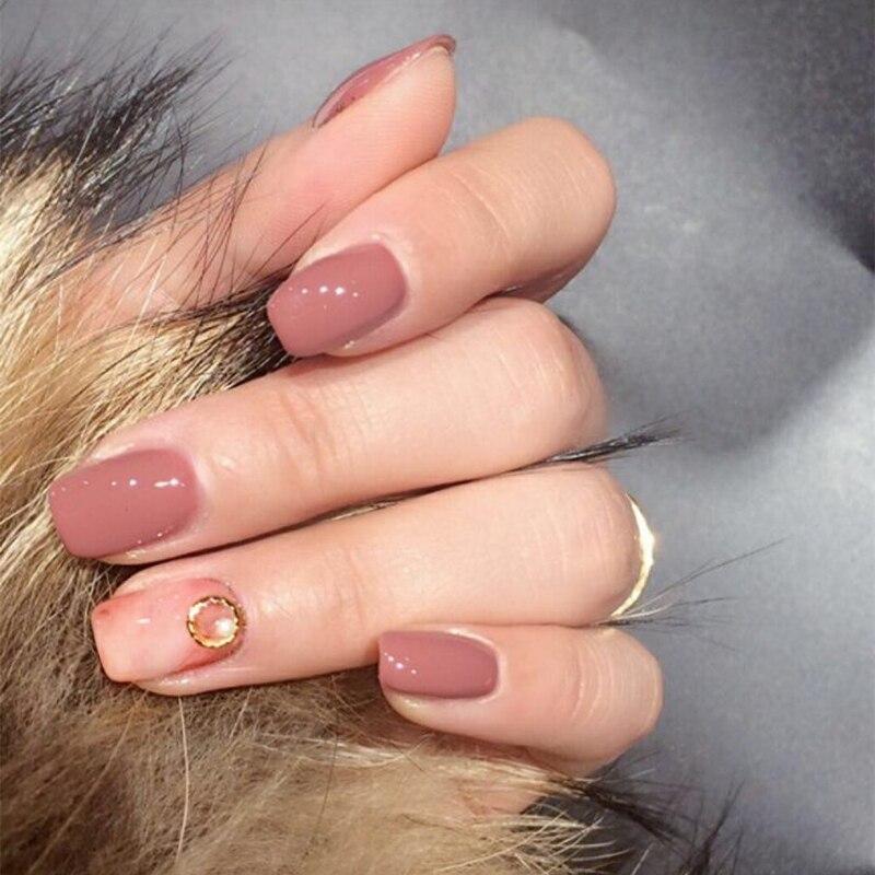 24 Uds 12 Diferentes Tamaños Teñido Rosa Sólido Diamante De Imitación Perla Decorado Corto Ovalado Uñas Postizas De Cobertura Completa Con Diseño