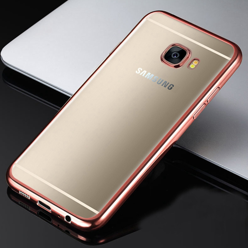 buy for samsung galaxy a5 2017 case silicon clear transparent gold plating soft. Black Bedroom Furniture Sets. Home Design Ideas