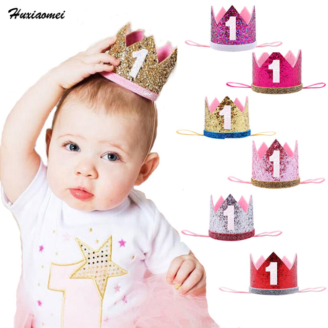 Huxiaomei Boy Blue Silver First Birthday Hat Girl Gold Pink Prines Crown Number 1st Year Old Party Glitter Headband