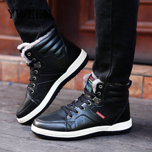 YWEEN Mens Leather Boots Thick Fur Casual Shoes Men High Top Winter Shoes Lace Up Men Shoes size 39-48