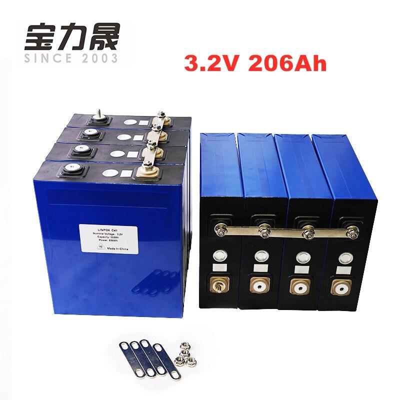 8 unids/lote 3,2 V 206AH 3C 600A lifepo4 pila de batería 12v200ah 24v200ah batterie para energía Solar de alta capacidad US/EU UPS libre de impuestos o FedEx
