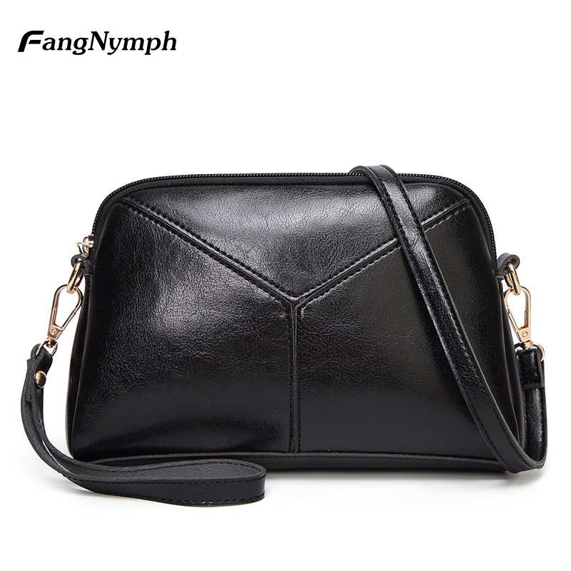 FangNymph Black Handbag Leather Shell Women Shoulder Hand bags Designer brand Luxury Women Vintage Crossbody Bags Girls Handbag
