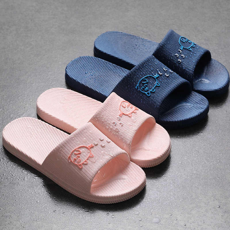 Slippers Women Summer Indoor Thick-soled Home Lovers Male Home Slippers Bath Slip-proof Bathroom Soft-soled Home Sandals