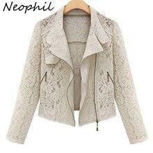Neophil 2016 Autumn Winter Fashion Long Sleeve Zipper Hollow Out Lace Biker Black Short Jackets Girls Outerwear Plus Size C08015