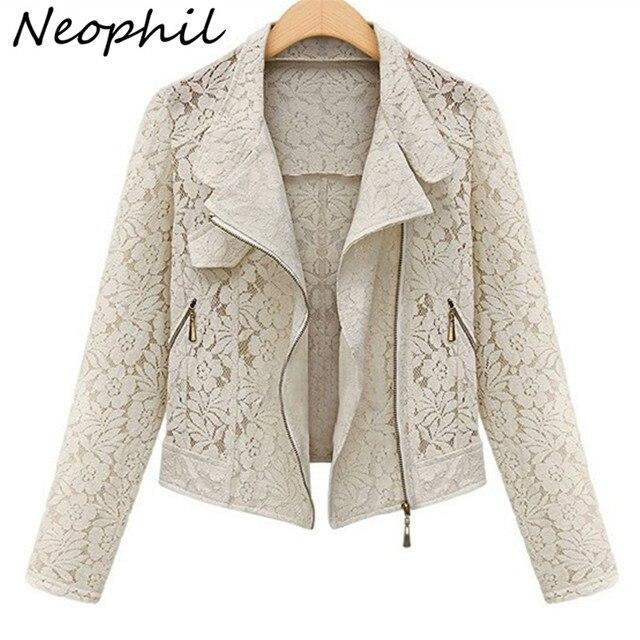 Neophil 2016 Outono Inverno Moda Manga Comprida Zipper Oco Out Lace Biker Preto Curto Casacos Meninas Outerwear Plus Size C08015