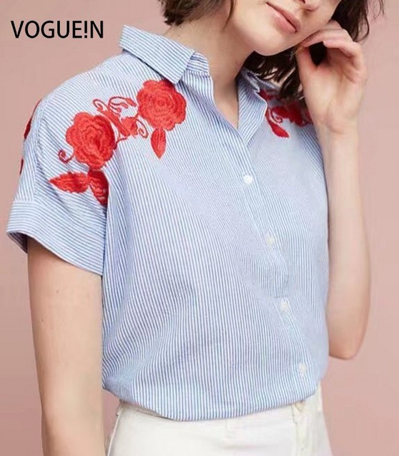 N New Womens Striped Print Floral Embroidered Short Sleeve Button Down Shirt  Blouse Tops