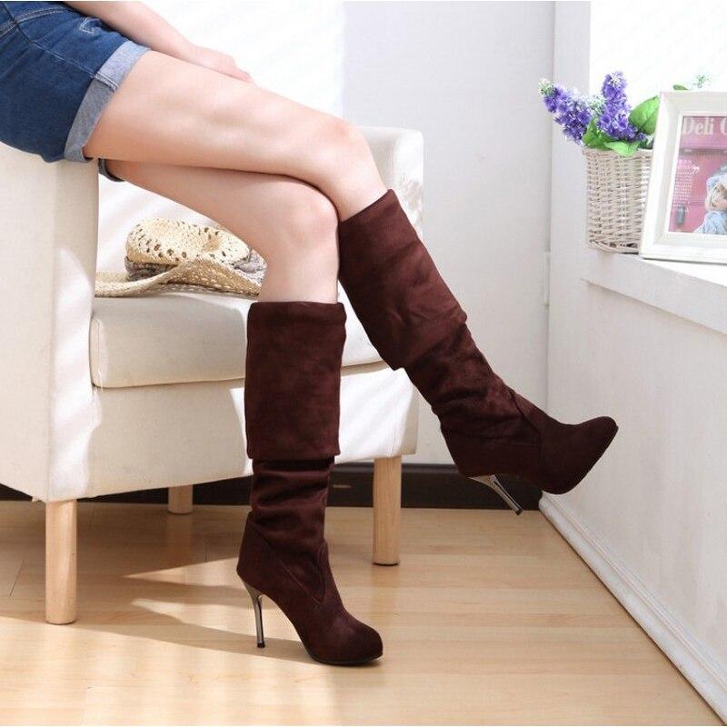 Hot koop fashion lange laarzen voor vrouwen nubuck leer sexy - Damesschoenen - Foto 3